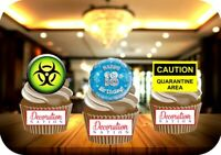 Quarantine 18th Birthday Blue Trio Mix 12 Edible STANDUP Cake Toppers Decoration
