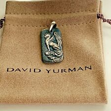 David Yurman Sterling Silver Men's Griffin Dog Tag Pendant Authentic 35mm