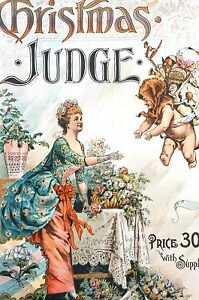 Judge CHRISTMAS COVER 1888 WASHINGTON DC NEW YEAR YEAR'S CUPID TOYS Matted Print