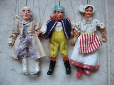 3 x  1950's handcrafted FOLK ART hand painted chalk ware marionette puppets