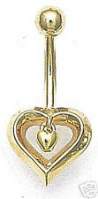 HEART 14k Yellow GOLD Belly Navel Ring Bar Drop Top Quality 14G Dangle