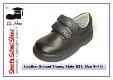 School Shoes Dr.Shoe Black Genuine Leather Boys Girls Strips Junior Sz 9-1.5