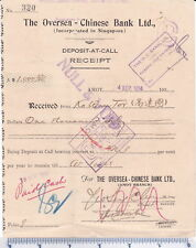 Fixed Deposit Receipt of Oversea Chinese Bank, 1930's