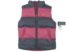 New Polo Ralph Lauren Reversible Girls Puffer Vest! Sm Pink Reverses to Stripe