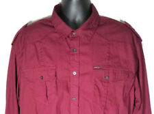Marc Ecko Cut & Sew XL (TAG XXL) Maroon Long Sleeve Shirt Double Chest Pocket