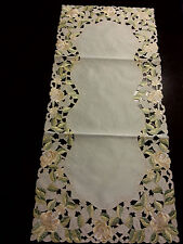 """16""""x54""""Embroidered Tablecloth Yellow Gardenia Flowers Table Runner Home Dec"""