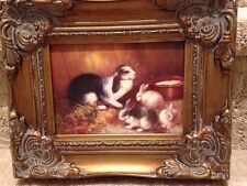 Country French Framed Oil Painting Of Mama And Baby Rabbits