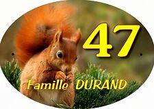 plaque de maison - boite aux lettres écureuil inscription au choix réf 72