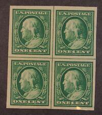 Scott 383 - 1 Cent Franklin - OG MH - Centerline Block Of 4 - SCV - $27.50
