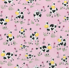 Cows Cute Country Hearts Pink Cotton Quilt Fabric Bty