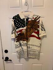 American Summer Clothing Patriotic Golf Shirt Collard July 4th M Military