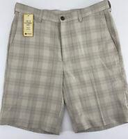 Men's Haggar Cool 18 Simple Plaid Performance Shorts (HS10434-111) Putty SZ 32W