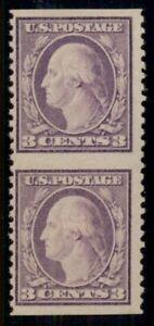 US #501c 3¢ light violet pair, IMPERF horizontally, VLH, PF cert, Scott $2,100.