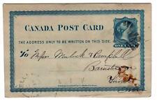 1876 Canada 1c postcard from Belleville Ontario to Toronto