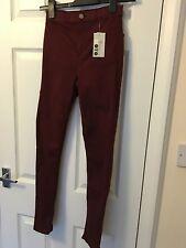 Topshop Moto Burgundy Joni Super High Waisted Skinny Jeans W25 L32