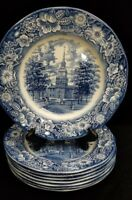 "Vtg 4 Liberty Blue Independence Hall 10"" Dinner Plates Staffordshire Ironstone"