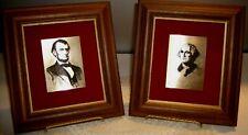 Vintage Washington & Lincoln Portraits Metal Engraving on Metal Pecan Frames