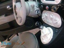 Cuffia leva cambio Fiat nuova 500 vera pelle bianca