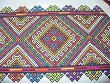VINTAGE TABLECLOTH~~WITH RUNNER~~BARK CLOTH~~~SQUARE DESIGN~~~~