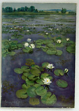 Original Modern Contemporary Vintage Realism Oil Painting Landscape Flowers 1993