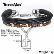 Mens Curb Cuban Link Bead Bracelet with Cross Charm Pendant Leather Chain Bangle