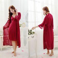 Womens Chiffon Long Lingerie Robes Gown Sleepwear Nightdress Nightwear Petticoat