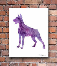 Doberman Pinscher Abstract Watercolor Painting Art Print by Artist Dj Rogers