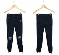 Carmar Skinny Jean Women's Size 25 Dark Wash Distressed Lace-Up Mid-Rise Cropped