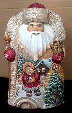 "Russian Wooden Fedoskino Style Painting Santa 12"" Signed"