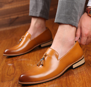 Mens Blend Leather Shoes Casual Tassels Square Toe Loafers Formal Youth Business
