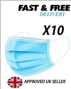 3 ply disposable medical surgical face mask 10 pcs next day delivery