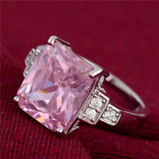 925 Sterling Silver beutiful LARGE PINK Cubic Zirconia ring size P UK-57 mm