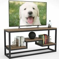 Rustic 3-Tier Media Console Table with Shelves for Living Room Hold up TV to 60""