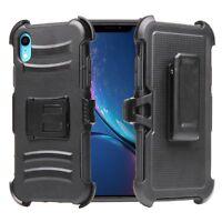 "For iPhone XR 6.1"" Armor Hybrid Shock Proof Rugged Belt Clip Holster Case BLACK"