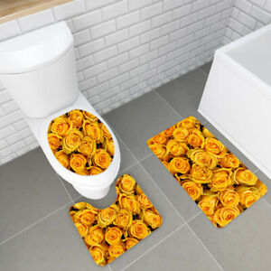3Pcs Rose Floral Non-Slip Bathroom Carpet Pedestal Rug+Toilet Cover+Bath Mat Set