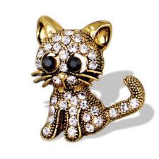 Women Vintage Gold Tone Little Cat Rhinestone Brooch Pin Scarf Accessory Gift CA