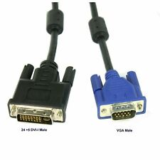 5 feet Dual Link DVI-I (24+5 pin) Male to VGA Male Cable Adapter Black