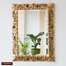 "Vintage Gold Tone Hand carved Wood Frame Ornate Mirror for wall decor, 29""x21.5"""
