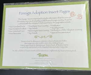 Tessera Baby Memory Book Insert Pack Foreign Adoption 12 Pages Documents Travel