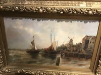 LATE 19th CENTURY...Continental Oil on Canvas...BOATS OF A QUAY