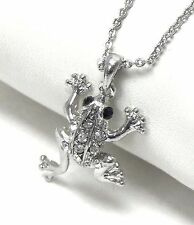 FREE GIFT BAG Silver Plated Rhinestone Crystal Frog Toad Necklace Chain Xmas