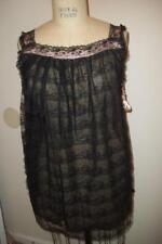 Vintage 60's Leonora Black Lace Lingerie Babydoll Chemise Negligee Nightie S