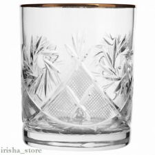 Russian European Crystal Rocks Glasses Scotch Whisky-Gold rimmed set of 2