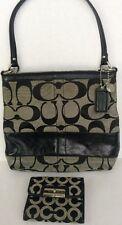 Coach Black Signature Striped Bag F0826-12825 And A Coach Wallet
