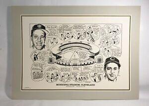 "Cleveland Indians "" MUNICIPAL STADIUM "" Historical Lithograph Print 22"" x 17"""
