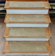 """Rug Depot Set of 13 Non Slip Casual Striped Wool Stair Treads 30"""" x 9"""" Beige"""
