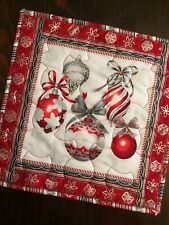 Handcrafted - Quilted Table Topper - Christmas Elegance - Ornaments - Silver