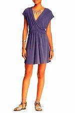 Free People Criss Cross Draped Front Greek Mini Tunic Dress Sleeveless Blue XS
