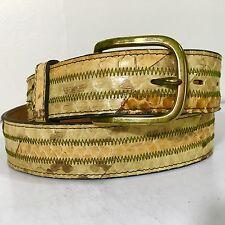 NOS Vtg CIRCLE Y Men Natural PYTHON Snake Skin Cowboy Western Leather Belt 34-36