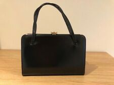 Vintage 50s Mappin & Webb black leather frame box handbag + butterfly look clasp